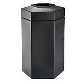 50 Gallon Hexagon Trash Container, Black - 737501