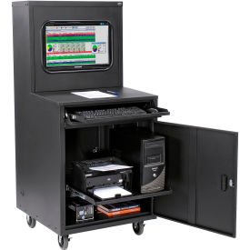 Deluxe LCD Industrial Computer Cabinet, Black, Assembled
