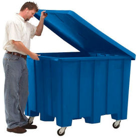 Rotational Molding Plastic Gaylord Pallet Container w/Lid, Casters 02-307220 - 50x50x36-1/2, Natural