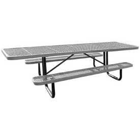 """96"""" Picnic Table Gray (ADA) Expanded Metal Surface Mount"""
