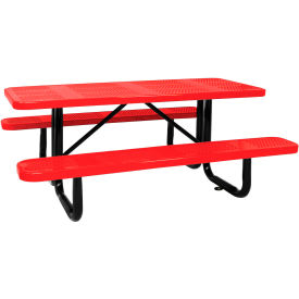 """96"""" Picnic Table Red (ADA) Perforated Metal Surface Mount"""