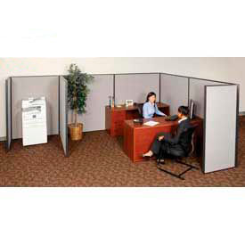 """Pre-Configured Partitioned Office Starter, 6'W x 6'D x 60""""H, Gray"""