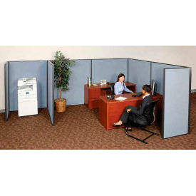 """Pre-Configured Partitioned Office Starter, 6'W x 8'D x 60""""H, Blue"""