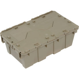 Plastic Shipping Container / Storage Container Attached Lid DC2012-07 19-5/8x11-7/8x7 Gray - Pkg Qty 6