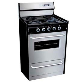 "Summit Deluxe 220V Electric Range, Slim 24""W W/Stainless Steel Doors"