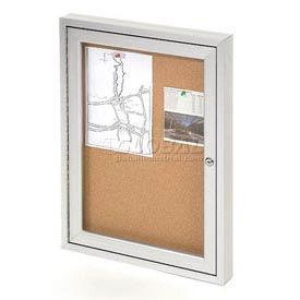 "United Visual Products One-Door Outdoor Corkboard - 18""W x 24"""