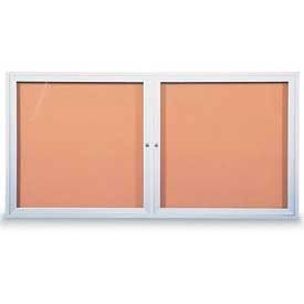 "United Visual Products Two-Door Outdoor Corkboard - 60""W x 36"""