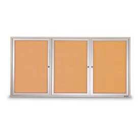 """United Visual Products Three-Door Indoor Corkboard - 96""""W x 48"""""""