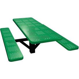 "72"" Single Post Rectangular Picnic Table Perforated Metal"
