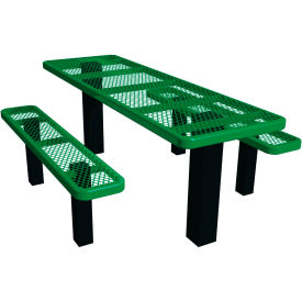 """48"""" Permanent Rectangular Picnic Table Expanded Metal"""
