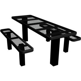 """72"""" Permanent Rectangular Picnic Table Expanded Metal"""