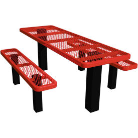 "96"" Permanent Rectangular Picnic Table Expanded Metal"