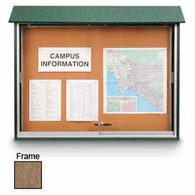 """United Visual Products Sliding-Door Outdoor Message Center - 45""""W x 30""""H - Weathered Wood"""