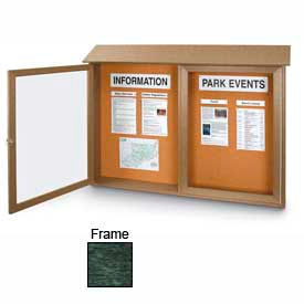 "United Visual Products Double-Door Outdoor Message Center - 45""W x 30""H - Woodland Green"