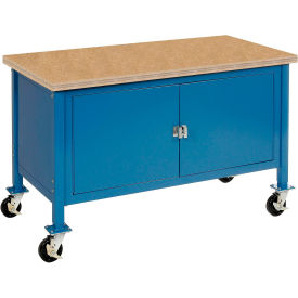 """60""""W x 30""""D Mobile Workbench with Security Cabinet - Shop Top Square Edge - Blue"""