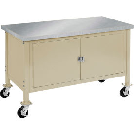 """60""""W x 30""""D Mobile Workbench with Security Cabinet - Stainless Steel Square Edge - Tan"""