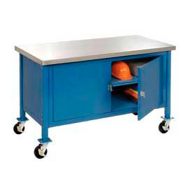 """72""""W x 30""""D Mobile Workbench with Security Cabinet - Stainless Steel Square Edge - Blue"""