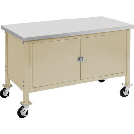 """72""""W x 30""""D Mobile Workbench with Security Cabinet - Plastic Laminate Safety Edge - Tan"""