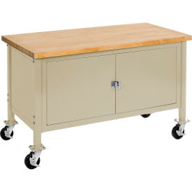 """72""""W x 30""""D Mobile Workbench with Security Cabinet - Maple Butcher Block Safety Edge - Tan"""