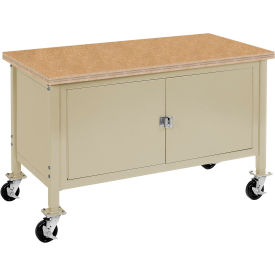 """72""""W x 30""""D Mobile Workbench with Security Cabinet - Shop Top Safety Edge - Tan"""