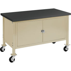 """72""""W x 30""""D Mobile Workbench with Security Cabinet - Phenolic Resin Safety Edge - Tan"""