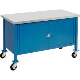 """72""""W x 30""""D Mobile Workbench with Security Cabinet - Plastic Laminate Square Edge - Blue"""