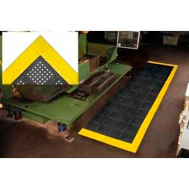 "Diamond Flex-Lok Antifatigue Drainage Mat 30""X96"" 3 Sides Black Yellow Boarders"