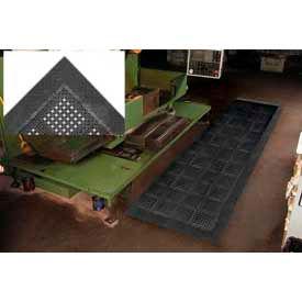 "Diamond Flex-Lok Antifatigue Drainage Mat 42""X72"" 3 Sides Black"