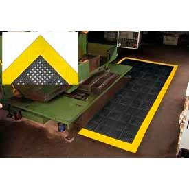 "Diamond Flex-Lok Antifatigue Drainage Mat 36""X 36"" 4 Sides Black Yellow Boarders"