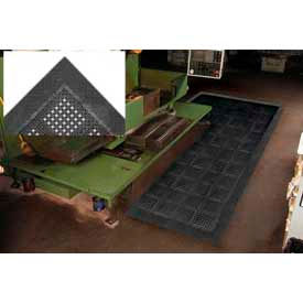 "Diamond Flex-Lok Antifatigue Drainage Mat 48""X 72"" 4 Sides Black"