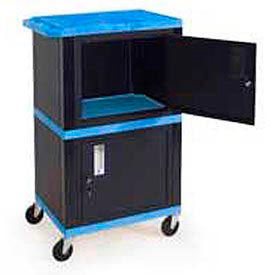 H. Wilson WT50 B Blue Plastic Shelf Mobile Storage Cabinet Truck 250 Lb.