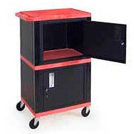 H. Wilson WT50-B Red Industrial Plastic Shelf Mobile Storage Cabinet Truck 250 Lb. Cap.