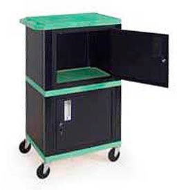 H. Wilson WT50-B Green Industrial Plastic Shelf Mobile Storage Cabinet Truck 250 Lb. Cap.