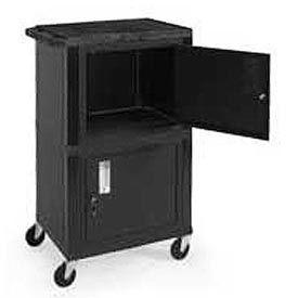 H. Wilson WT50-B Black Industrial Plastic Shelf Mobile Storage Cabinet Truck 250 Lb. Cap.