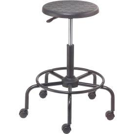 Shop Stool with Footrest - Polyurethane - Black