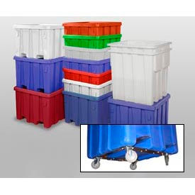 """MODRoto Bulk Container With Lid P340-B-5C - 48x48x30 Dumping Bracket and 5"""" Casters, Royal Blue"""