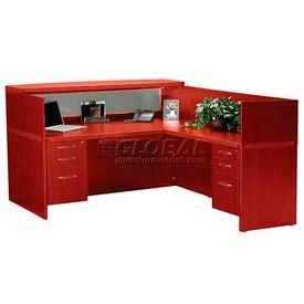 Reception Suite 1 - Desk, Return, Counter, Pedestals - Cherry
