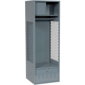 Pucel All Welded Gear Locker With Foot Locker Top Shelf Cabinet 24x18x72 Gray