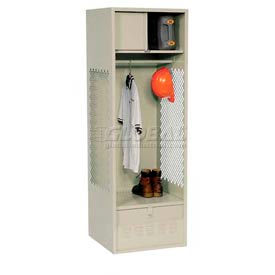 Pucel All Welded Gear Locker With Foot Locker Top Shelf Cabinet 24x18x72 Putty