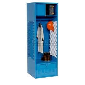 All Welded Gear Locker With Foot Locker Top Shelf Cabinet 24x18x72 Blue