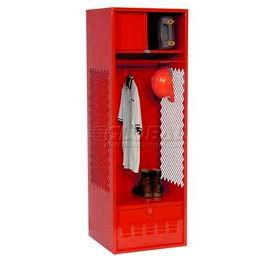 Pucel All Welded Gear Locker With Foot Locker Top Shelf Cabinet 24x18x72 Red