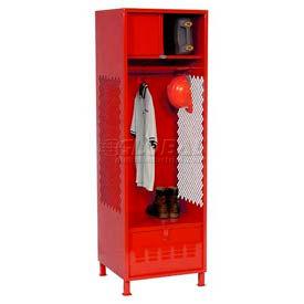 Pucel All Welded Gear Locker With Foot Locker Top Shelf Cabinet And Legs 24x18x72 Red