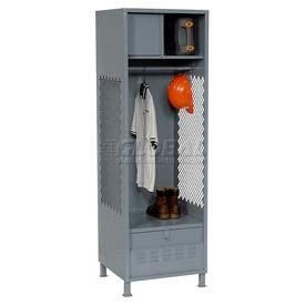 Pucel All Welded Gear Locker With Foot Locker Top Shelf Cabinet And Legs 24x18x72 Gray