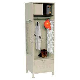 Pucel All Welded Gear Locker With Foot Locker Top Shelf Cabinet & Legs 24x18x72 Putty
