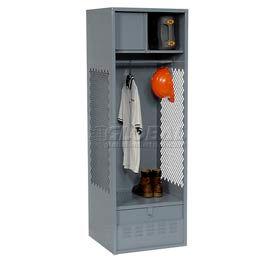 Pucel All Welded Gear Locker With Foot Locker Top Shelf Cabinet 24x24x72 Gray