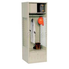 All Welded Gear Locker With Foot Locker Top Shelf Cabinet 24x24x72 Putty