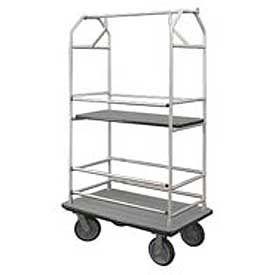 Glaro Bellman Condo Cart 40x25 Satin Aluminim Gray Carpet, 4 Rubber Wheels