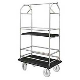 Glaro Bellman Condo Cart 40x25 Satin Aluminim Black Carpet, 4 Pneumatic Wheels