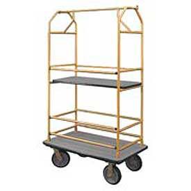Glaro Bellman Condo Cart 40x25 Satin Brass Gray Carpet, 4 Rubber Wheels