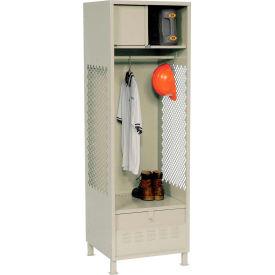 Pucel All Welded Gear Locker With Foot Locker Top Shelf Cabinet & Legs 24x24x72 Putty